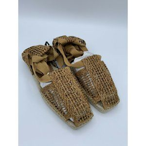 Zara Size 6.5 Faux Leather Woven Gladiator Sandals